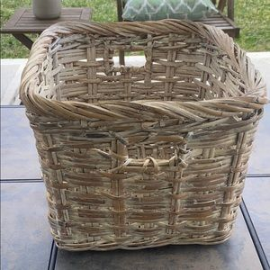 Wicker White Washed Square Basket